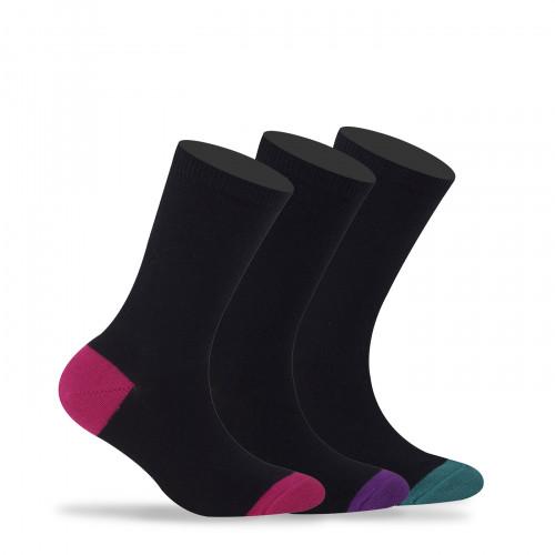 Lot de 3 paires de mi-chaussettes unies talons et pointes colorés