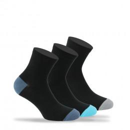 Lot de 3 paires de socquettes unies talons et pointes colorés