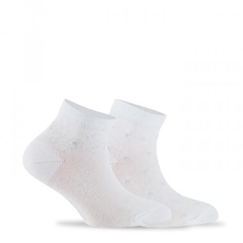 Lot de 2  paires de socquettes fantaisies  Lurex en coton