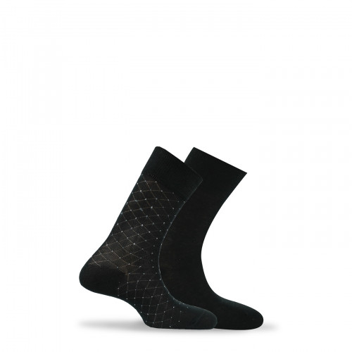 Lot de 2 paires de chaussettes fantaisies et unies en fil d'écosse