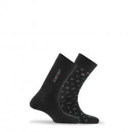 Lot de 2 paires de chaussettes fantaisies en coton de fabrication française